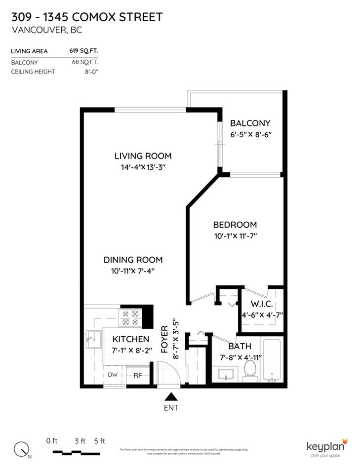 309 1345 COMOX STREET - West End VW Apartment/Condo for sale, 1 Bedroom (R2495893)
