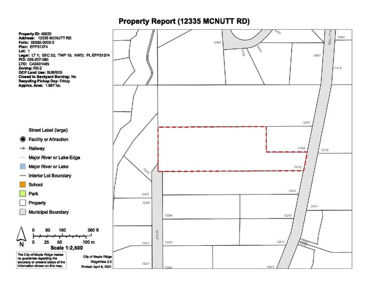 12335 MCNUTT ROAD - Northeast for sale(R2563352)