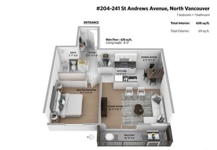 204 241 ST. ANDREWS AVENUE - Lower Lonsdale Apartment/Condo for sale, 1 Bedroom (R2575173) - #3