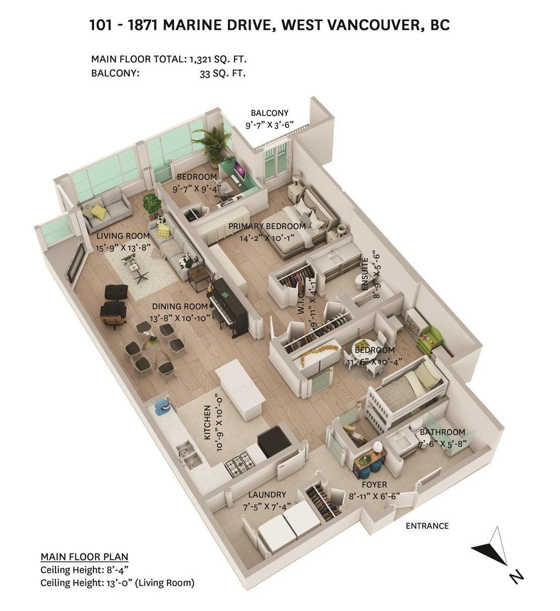 101 1871 MARINE DRIVE - Ambleside Apartment/Condo for sale, 2 Bedrooms (R2602204) - #2