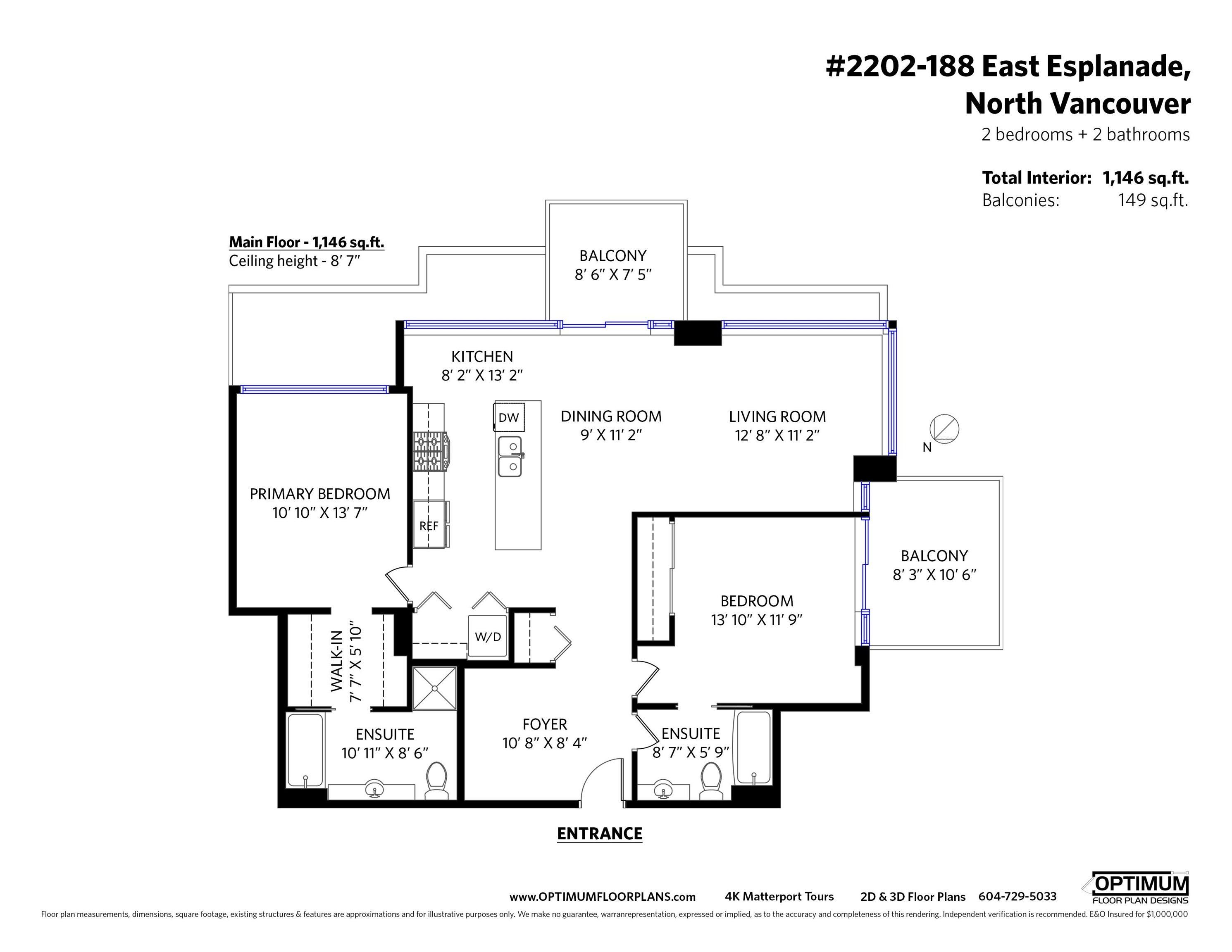 2202 188 E ESPLANADE - Lower Lonsdale Apartment/Condo for sale, 2 Bedrooms (R2618412) - #23
