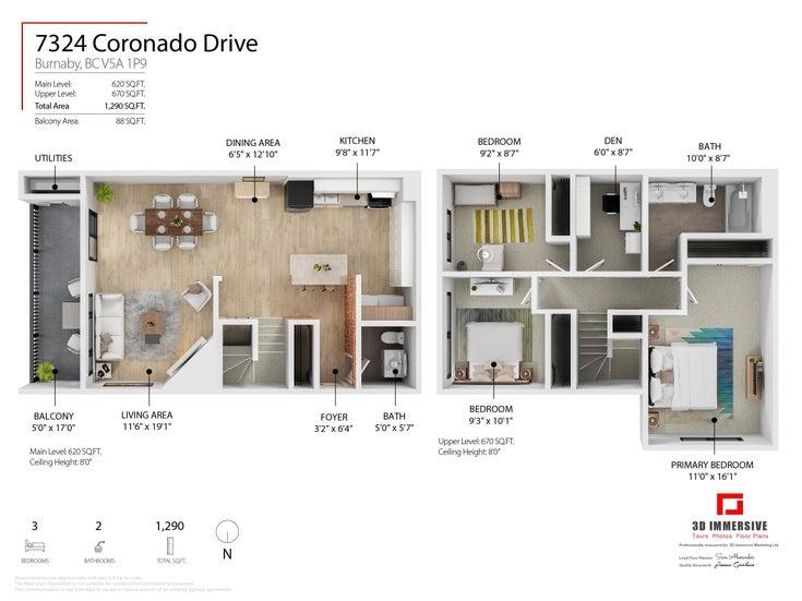 7324 CORONADO DRIVE - Montecito Townhouse for sale, 4 Bedrooms (R2624979)